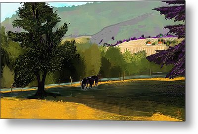 Horses In Field Metal Print