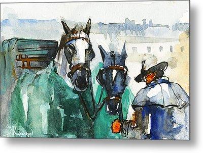 Horses Metal Print by Kristina Vardazaryan