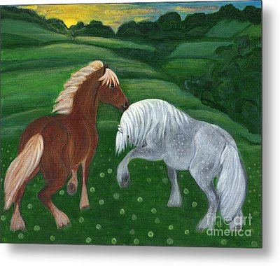 Horses Of The Rising Sun Metal Print by Anna Folkartanna Maciejewska-Dyba