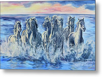Horses Of The Sea Metal Print by Jana Goode