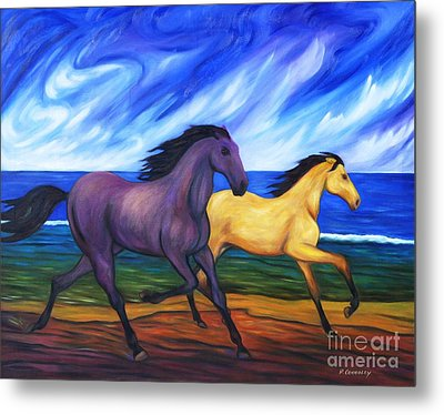 Horses Running On The Beach Metal Print by Dianne  Connolly