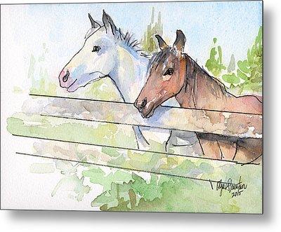 Horses Watercolor Sketch Metal Print by Olga Shvartsur