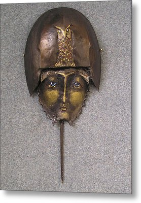 Horseshoe Crab Mask Art Metal Print