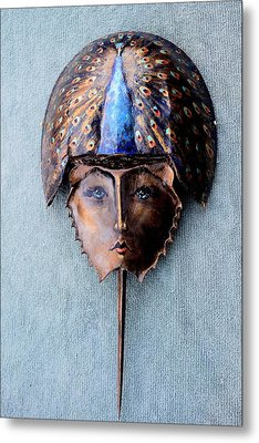 Horseshoe Crab Mask Peacock Helmet Metal Print