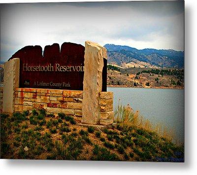 Horsetooth Peak Above The Reservoir Metal Print by Aaron Burrows