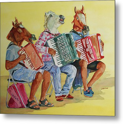 Horsing Around With Accordions Metal Print