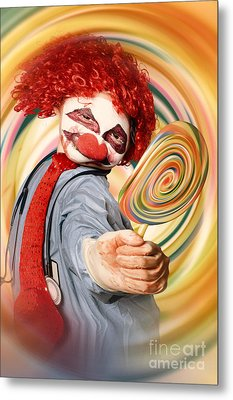 Hospital Clown Offering Psychedelic Lolly Hypnosis Metal Print by Jorgo Photography - Wall Art Gallery