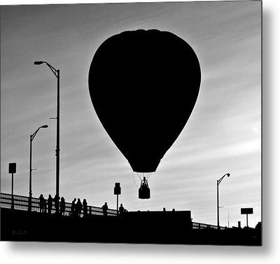 Hot Air Balloon Bridge Crossing Metal Print by Bob Orsillo
