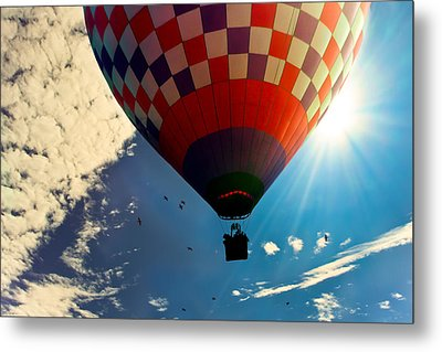 Hot Air Balloon Eclipsing The Sun Metal Print by Bob Orsillo