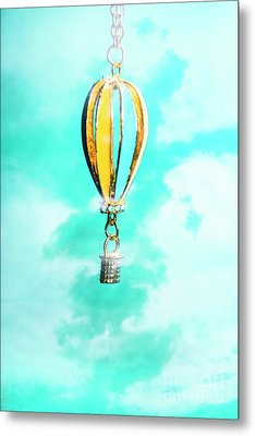 Hot Air Balloon Pendant Over Cloudy Background Metal Print by Jorgo Photography - Wall Art Gallery