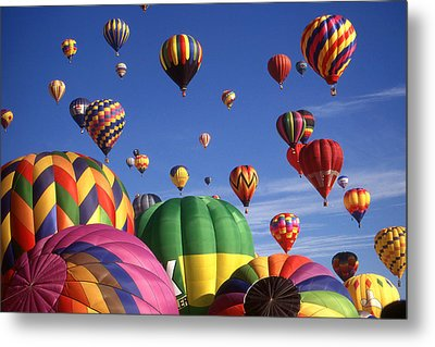 Beautiful Balloons On Blue Sky Metal Print by Art America Gallery Peter Potter