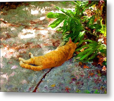 Metal Print featuring the painting Hot Cat by David  Van Hulst