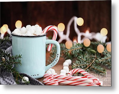 Metal Print featuring the photograph Hot Cocoa With Marshmallows And Candy Canes by Stephanie Frey