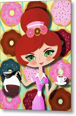 Hot Coffee And Fresh Donuts Metal Print by Little Bunny Sunshine