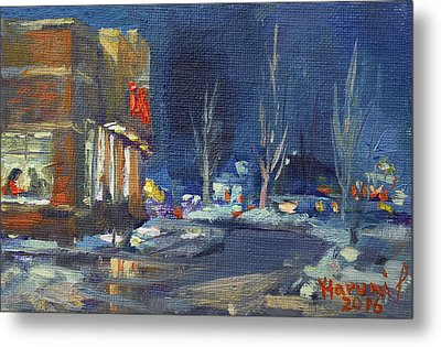 Hot Coffee In Cold Winter At Tim's With Viola Metal Print
