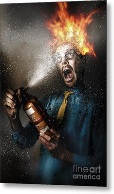 Hot Headed Nerd Businessman Playing With Fire Metal Print