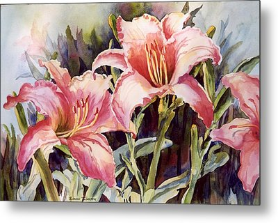 Metal Print featuring the painting Hot Lillies by Roxanne Tobaison