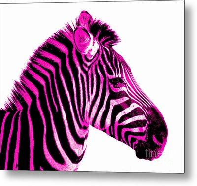 Hot Pink Zebra Metal Print by Rebecca Margraf