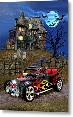 Hot Rod Of Haunted Hill Metal Print