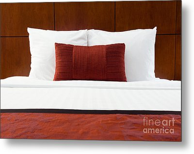 Hotel Room Bed And Pillows Metal Print by Paul Velgos