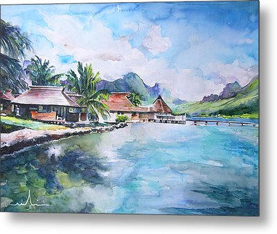 House By The Lagoon In French Polynesia Metal Print by Miki De Goodaboom