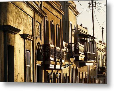 House Facades Gilded By The Setting Sun Old San Juan Puerto Rico Metal Print by George Oze