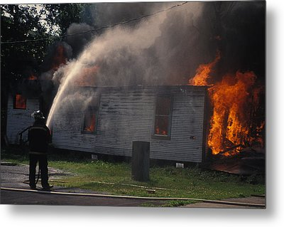 House On Fire Metal Print by Carl Purcell