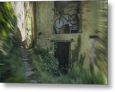 House With Bycicle Metal Print