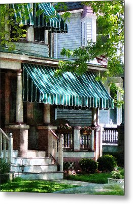 House With Green Striped Awnings Metal Print by Susan Savad