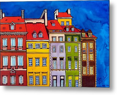 Metal Print featuring the painting Houses In The Oldtown Of Warsaw by Dora Hathazi Mendes