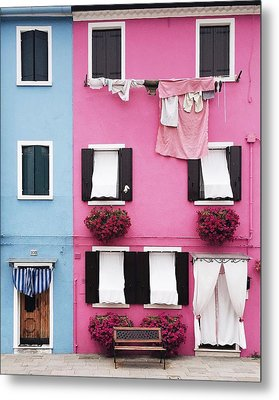 Houses Of Burano 7 Metal Print by Happy Home Artistry