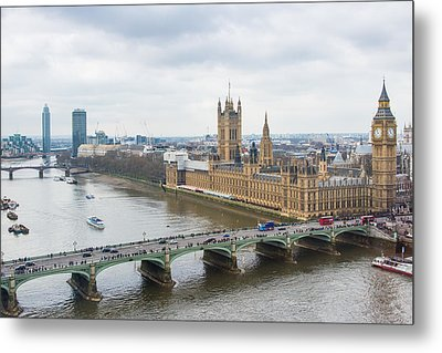 Houses Of Parliament And The Westminster Bridge As Seen From The London Eye Metal Print by AMB Fine Art Photography