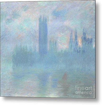 Houses Of Parliament  London Metal Print by Claude Monet