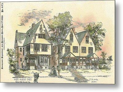 Houses On Locust Street Walnut Hills Cincinnati Ohio 1888 Metal Print by SE DesJardins