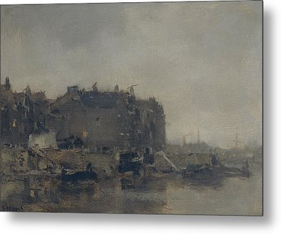 Houses On The Prins Hendrikkade In Amsterdam On A Foggy Day Metal Print by Jacob Maris