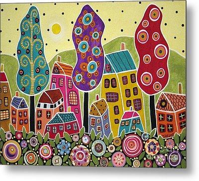 Houses Trees Flowers Metal Print by Karla Gerard