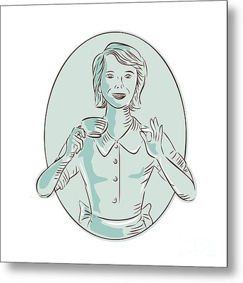 Housewife Drinking Cup Of Coffee Etching Metal Print