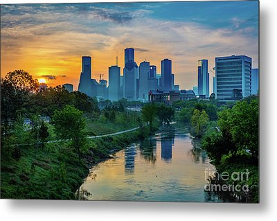 Houston Dawn Metal Print by Inge Johnsson