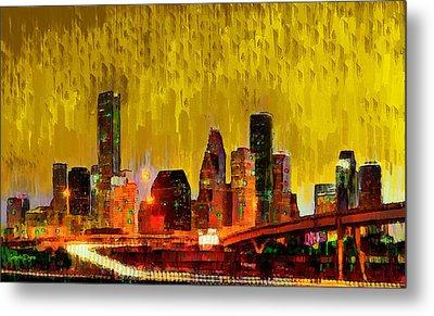 Houston Skyline 111 - Da Metal Print