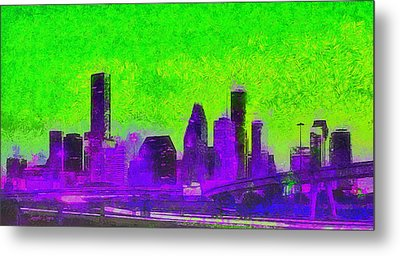 Houston Skyline 43 - Da Metal Print