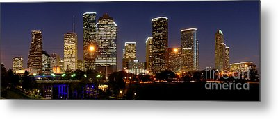 Houston Skyline At Night Metal Print by Jon Holiday