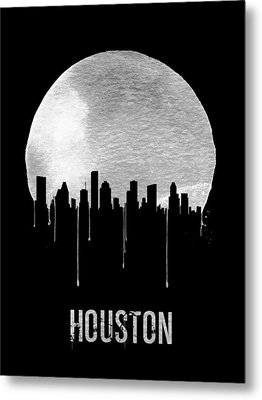 Houston Skyline Black Metal Print by Naxart Studio