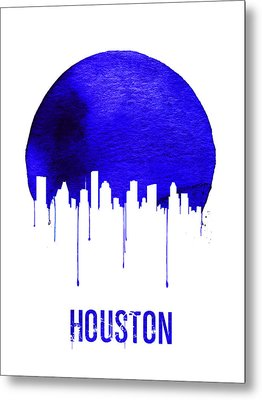 Houston Skyline Blue Metal Print by Naxart Studio
