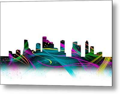 Houston Skyline Crazy Watercolor Art Metal Print by Tod and Cynthia Grubbs