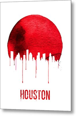 Houston Skyline Red Metal Print by Naxart Studio