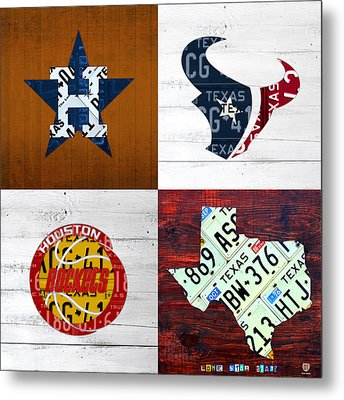 Houston Sports Fan Recycled Vintage Texas License Plate Art Astros Texans Rockets And State Map Metal Print by Design Turnpike