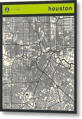 Houston Street Map Metal Print