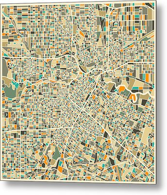 Houston Texas Map Metal Print by Jazzberry Blue