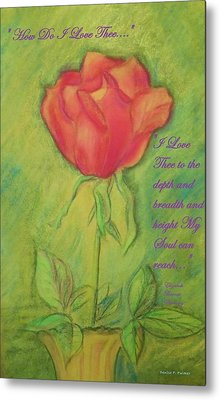 Metal Print featuring the drawing How Do I Love Thee ? by Denise Fulmer