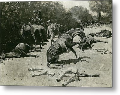 How The Horses Died For Their Country At Santiago, 1899 Metal Print by Frederic Remington